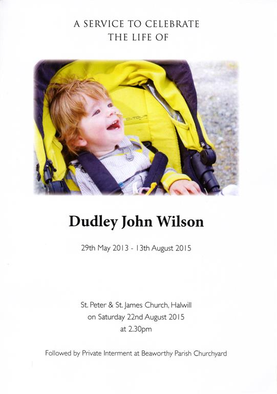 A Service to celebrate the life of Dudley John Wilson - Cover